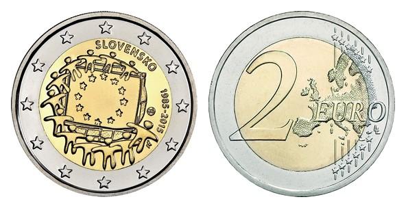 48fb51d34 SK 2 eurá 2015 Vlajka Európskej únie; Pamätná minca, bimetalová; 30 ...